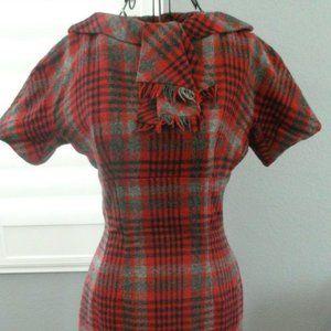 60's Vtg Saks Red Black Tartan Wiggle Mini Dress